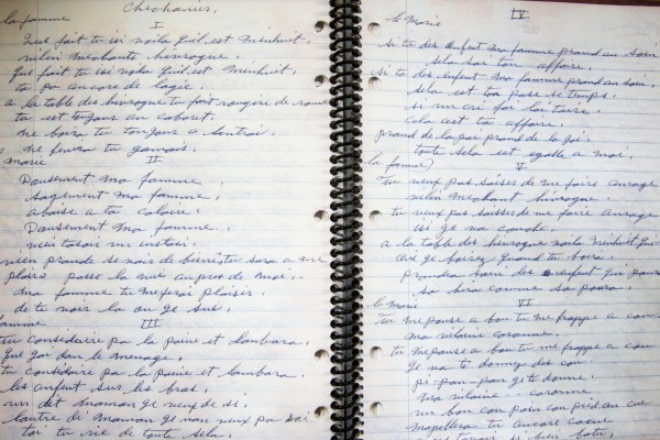 Portland musician Rob Sylvain is reviving old Acadian folk songs written down, from memory, in a notebook (pictured) by his grandmother more 50 years ago.