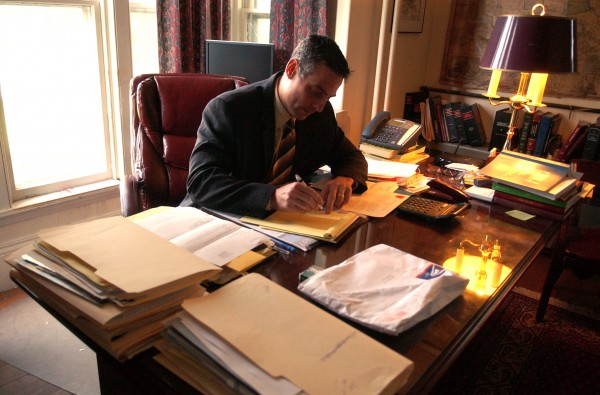 Attorney David Mitchell in his Calais office on Wednesday, May 23, 2007.
