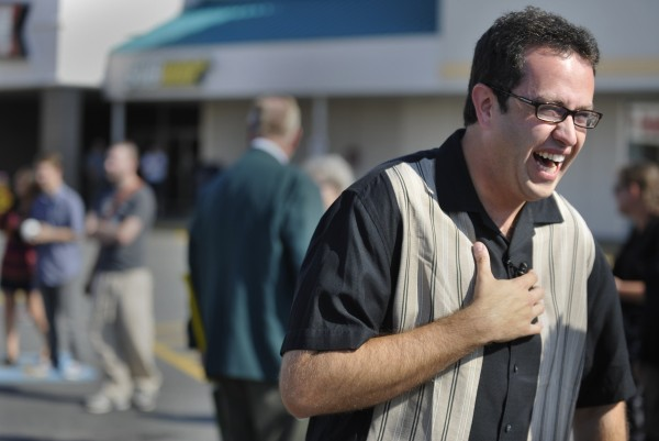 Subway spokesman Jared Fogle laughs during an interview with the media during his appearance at Bangor's Airport Mall in August 2010.