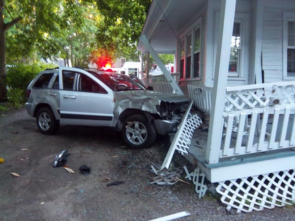 This vehicle, allegedly driven by Kennebunkport resident Gary Muslow, struck the porch at 8 Summer St. in Kennebunk on Sunday.