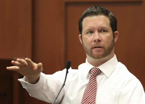 Jonathan Good, a neighbor who witnessed part of the confrontation between George Zimmerman and Trayvon Martin testifies in the George Zimmerman murder trial for the 2012 shooting death of Trayvon Martin in Seminole circuit court in Sanford, Florida, June 28, 2013.