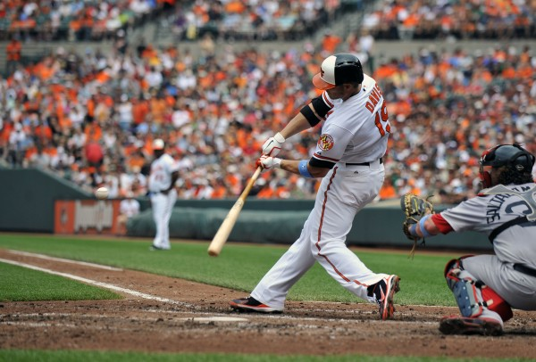 Baltimore's Chris Davis (19) hits a two-run home run in the third inning against the Boston Red Sox at Oriole Park at Camden Yards Sunday. The Orioles won 6-3.