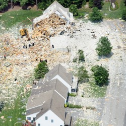 NH home leveled in propane explosion; man seriously injured