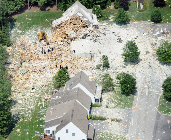 An aerial view of the devastation caused by an explosion Tuesday on Gables Drive in Yarmouth.