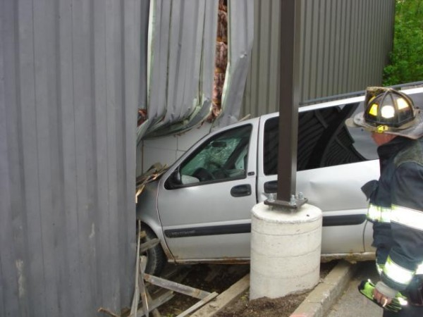 A vehicle crashed through a fence near McDonald's on Broadway Tuesday after the driver had a medical issue, according to Bangor police.