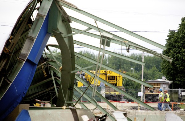 he final standing structures at the old Bangor Auditorium were torn down Thursday, June 27, 2013.
