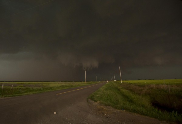 A mile-wide tornado is seen near El Reno, Okla., on May 31. Five people were killed in central Oklahoma as tornadoes raced across the area, a spokeswoman for the state Office of the Chief Medical Examiner said.