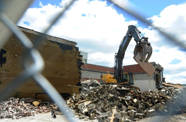 Demolition of the Bangor Auditorium and Civic Center continues on Tuesday, June 4, 2013.