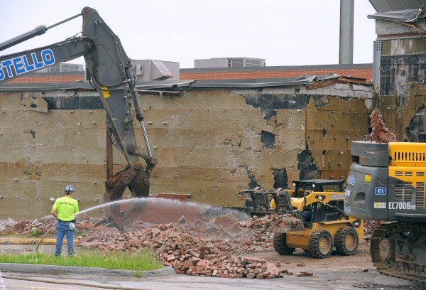 The demolition of the outside wall of the Bangor Auditorium and Civic Center started Monday morning, June 3, 2013.
