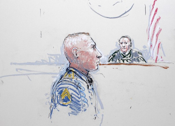 Army Staff Sergeant Robert Bales (left) and Judge Col. Jeffery R. Nance are seen in a sketch from January 17, 2013, as Bales is arraigned at Joint Base Lewis-McChord, Washington.  Bales pleaded guilty on Wednesday June 5, 2013, to premeditated murder and other charges under a deal with military prosecutors to avoid the death penalty.