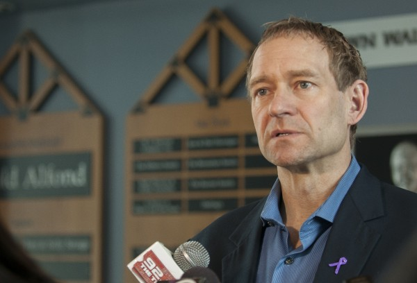 Tim Whitehead holds a press conference at the Alfond Arena in Orono on April 10 after his firing the previous day as the head coach of the University of Maine men's hockey team. Whitehead has been hired as the boys hockey coach at Kimball Union Academy in Meriden, N.H.