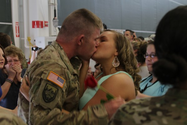 Alexa Lincoln of Bangor welcomes home her husband, Stephen, after a long deployment. &quotWe got married the night before he had to deploy. We didn't get a honeymoon or even a married night together. Tonight is gonna be our first,&quot said Alexa, adding that &quotwe've got a lot of lost time to make up for.&quot