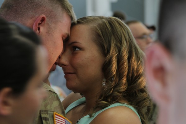 Alexa Lincoln of Bangor welcomes home her husband, Stephen, after a long deployment. &quotWe got married the night before he had to deploy, we didn't get a honeymoon, or even a married night together. Tonight is gonna be our first,&quot said Alexa, adding that we've got a lot of lost time to make up for.&quot