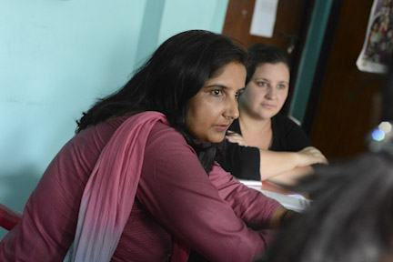 Cristi Hegranes (right) works with Tara Bhattarai, the Global Press Institute's country editor in Nepal.