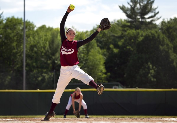 Richmond pitcher Jamie Plummer delivers a pitch during the Class D softball state championship victory over Penobscot Valley in Standish, Saturday, June 15, 2013.