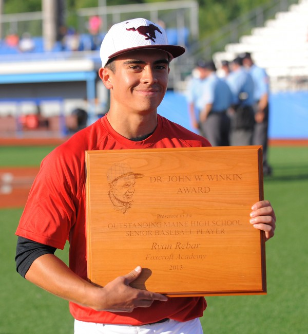 Foxcroft Academy's Ryan Rebar received the the Dr. John W. Winkin Award on Friday, presented annually by the Maine Baseball Coaches Association to the state's outstanding senior high school baseball player.