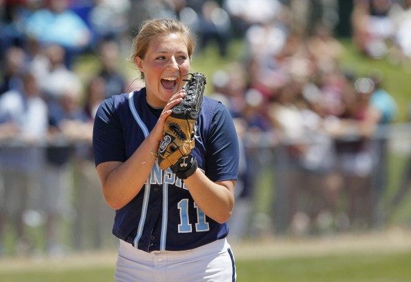 Oceanside pitcher Rachel Frye reacts after the last out as her team wins the Class B softball state championship in Standish.
