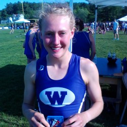 Waterville High School's Bethanie Brown set records in the 800-, 1,600-, and 3,200-meter runs during the Class B state track and field championships Saturday at McMann Field in Bath.