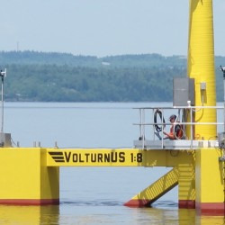 First floating wind turbine in North America hits the water in Brewer