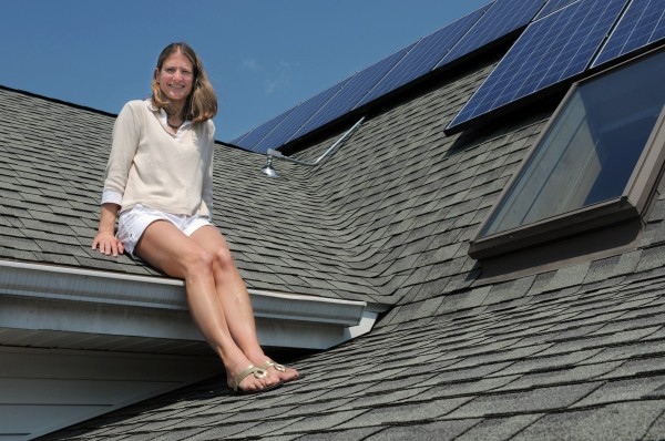Melissa Pelchar and her husband recently installed leased solar panels on the roof of their Burlington, CT, home.
