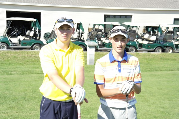 Cavan Hagerty (left) and Drew Powell, two Bangor High School sophomores, will play 100 holes of golf Thursday at Penobscot Valley Country Club in Orono. Their efforts will benefit The First Tee, a golf organization that introduces the game to young people.