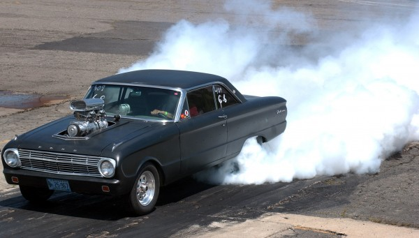 A 1964 Ford Falcon prepares for an elimination heat at Winterport Dragway in this file photo from 2008. Winterport Dragway has scheduled a special event on Saturday, July 13, 2013 to enable friends and neighbors in street-legal (everyday) cars to race each other.