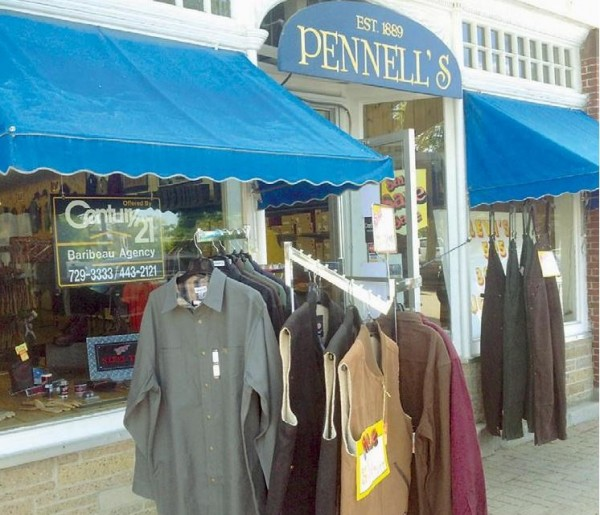 Pennell's clothing store on Maine Street in Brunswick is on the market. Owners David Girardin and John Simonson are looking for &quotjust the right buyer.&quot