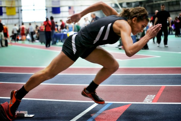 Brewer High School's Teal Jackson starts her 200-meter dash at the Class A State Indoor Track Championships in Gorham, on Feb. 18. Jackson won the event, as well as the 400-meter run and the 55-meter dash.