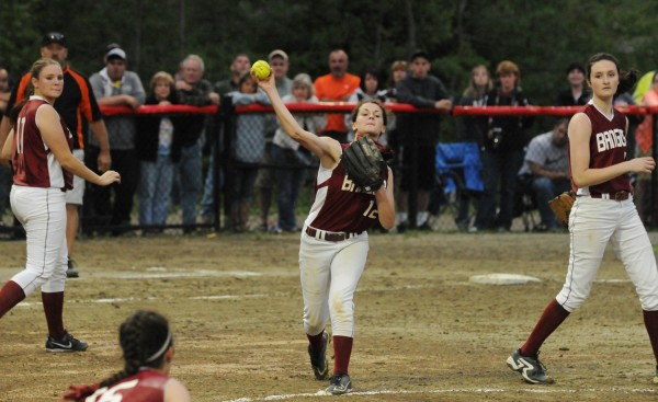 Bangor's Sydni Cosgrove makes a throw to first for an out during fifth-inning action against Skowhegan in Augusta on Thursday. Skowhegan won 2-0 to captured the Eastern Maine Class A title.