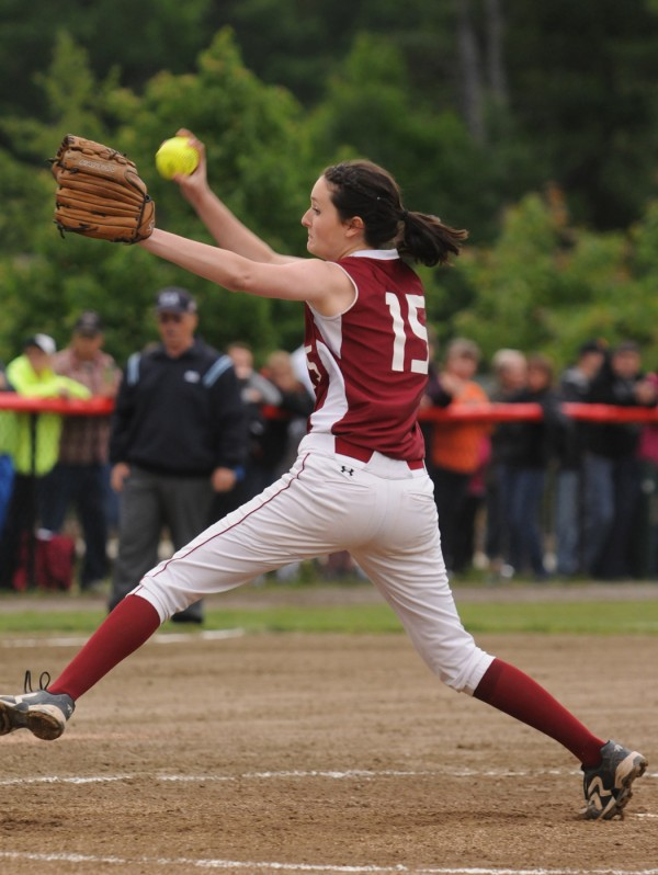 Bangor's Skyler Cassum pitches against Skowhegan on Thursday during the Class A regional championship. Skowhegan won 2-0.