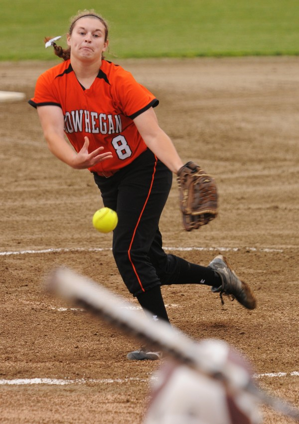 Skowhegan's Taylor Johnson pitches against Bangor on Thursday during the Class A regional championship. Skowhegan won 2-0.
