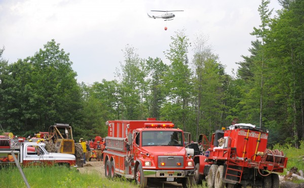 Crews from several towns, the Maine Forest Service and Air National Guard fought the fire that burned in a very hard to access area between Swett, North and Cook Roads.  Fire crews had to use skidders and bulldozers to get their equipment to the fire.