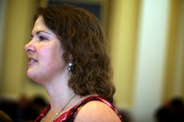 Senator Emily Cain, D-Orono, urges her colleagues to vote in favor of overriding the governor's budget veto Wednesday.