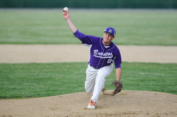 Hampden Academy's Matthew Martin throws a pitch against Lewiston on Thursday.
