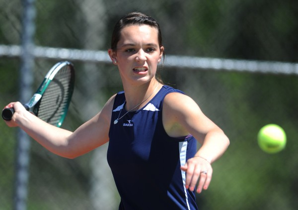 Parise Rossingnol of Van Buren competes against Mattanawcook's Ciara Tolman on Tuesday at the UMaine tennis courts in Orono during the Eastern Maine class C  tennis championship. Rossignol defeated Tolman 6-1, 6-0.