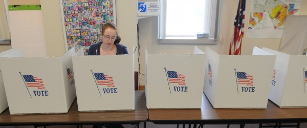 Norah Bird casts her vote in Orono on Tuesday.
