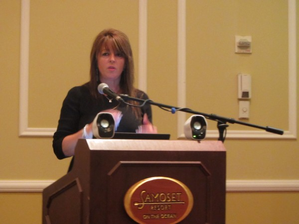 Amy Powers, the founding director of CruiseMaineUSA Coalition, spoke before the Penobscot Bay Regional Chamber of Commerce on Wednesday morning at the Samoset Resort in Rockport.