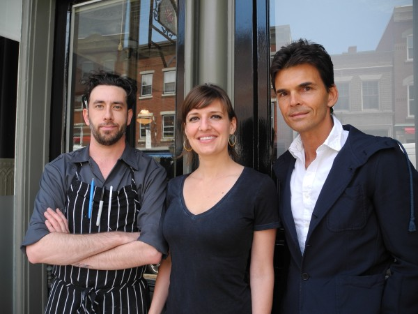 Head Chef Jason Paul (from left) of Los Angeles, General Manager Simone Powers of San Francisco and acclaimed chef Matthew Kenney, a Searsport native, stand outside of The Gothic, their new restaurant venture, this week.