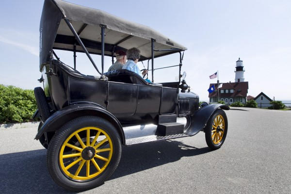 Nathan and Helen Brackett of Gorham, Maine, arrive at Portland Head Light in Cape Elizabeth, Maine, in their 1920 Model T Ford, Sunday, June 2, 2013.