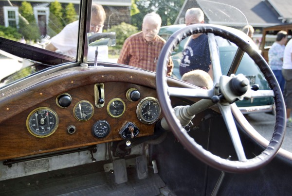 The wooden instrument panel of David Glaser's 1928 Rolls Royce, Sunday, June 2, 2013, in Falmouth, Maine.
