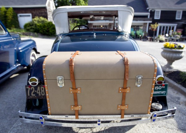 Phil and Betty Brown's 1931 Model A Ford Deluxe Roadster, equipped with a stylish trunk with leather straps, Sunday, June 2, 2013, in Falmouth, Maine.