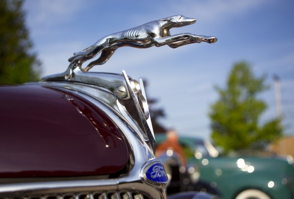 A greyhound hood ornament adorns Bill Grivisis's 1936 Ford Cabriolet, Sunday, June 2, 2013, in Falmouth, Maine. These types of accessories were often put on the car aftermarket.