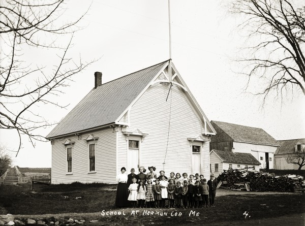 School at Herman Corner; Eastern Illustrating Collection; Penobscot Marine Museum