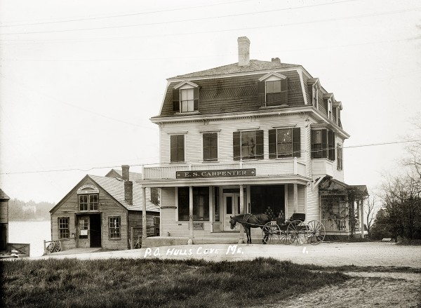 Post Office, Hulls Cove; Eastern Illustrating Collection; Penobscot Marine Museum