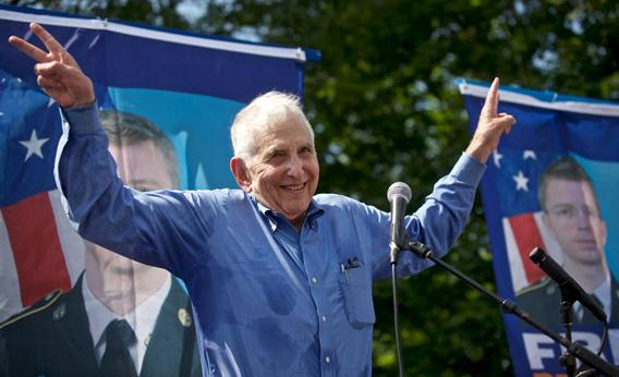 Daniel Ellsberg, who leaked the Pentagon Papers, speaks during a rally in support of Pfc. Bradley Manning on June 1, 2013, in Fort Meade, Md.