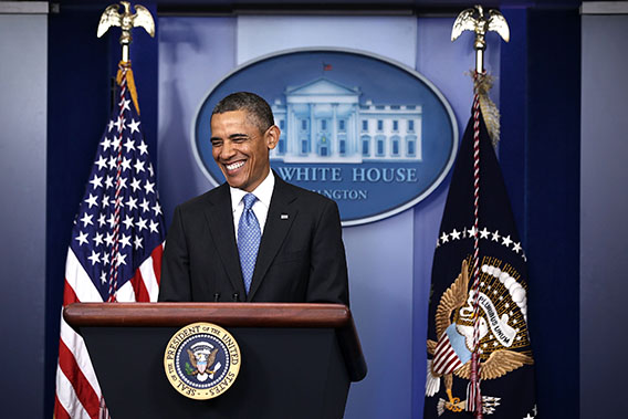 U.S. President Barack Obama smiles during a press conference in the Briefing Room of the White House on April 30, 2013 in Washington, DC.