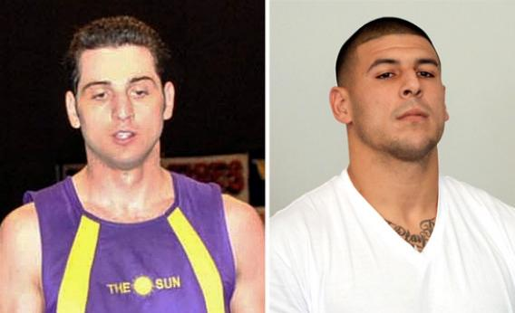 Tamerlan Tsarnaev, left, and Aaron Hernandez, right.