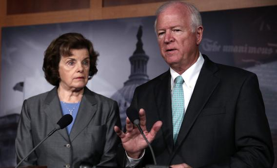 Sen. Dianne Feinstein (D-CA) and Sen. Saxby Chambliss (R-GA), the chairman and vice chairman of the Senate Select Committee on Intelligence, explain the National Security Agency phone surveillance program on June 6, 2013.