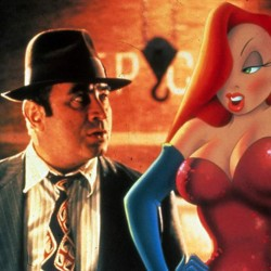 Bob Hoskins and the voice of Kathleen Turner star in WHO FRAMED ROGER RABBIT