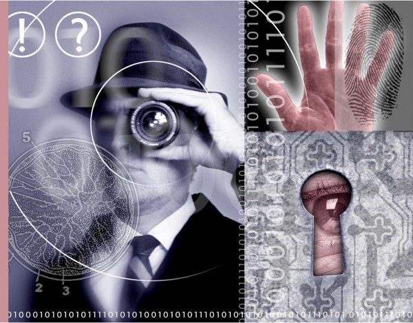 Security and espionage; includes a detective, eye looking through a keyhole, fingerprint analysis and digital information.